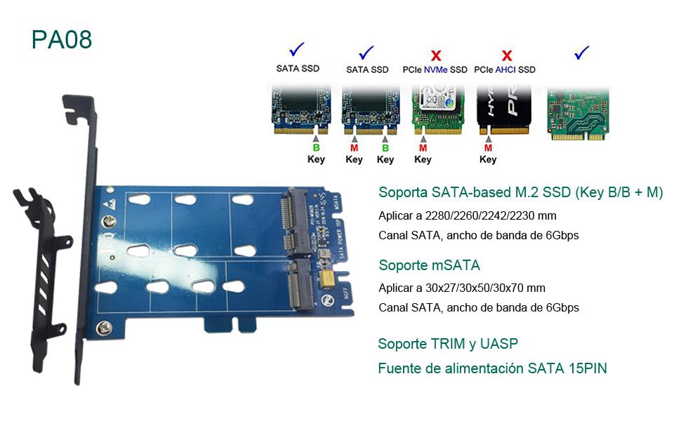 glotrends 2 in 1 M.2 and mSATA SSD Adapter Card for M.2 SATA-Based SSD to SATA, mSATA to SATA (PA08)