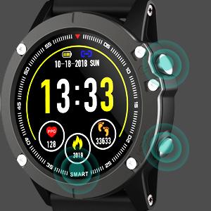 HolyHigh Reloj Inteligente Bluetooth Impermeable IP68 Pulsera de Actividad 1.3 Pulgadas Pantalla con Monitor de Ritmo Cardíaco/Sueño, Podómetro, ...