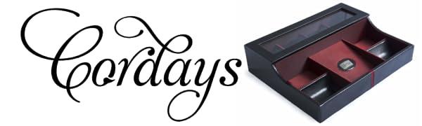 Cordays - Estuche Relojero Deluxe de Piel para Hombre con Vitrina Protectora de Cristal para 4 Relojes y Bandeja Organizador Vacía Bolsillos con ...