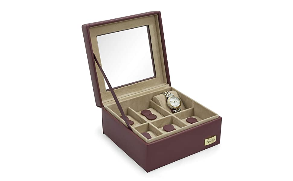Cordays - Estuche Relojero para 6 Relojes con Vitrina de Cristal Hecho a Mano en Color Marsala CDL-10004A