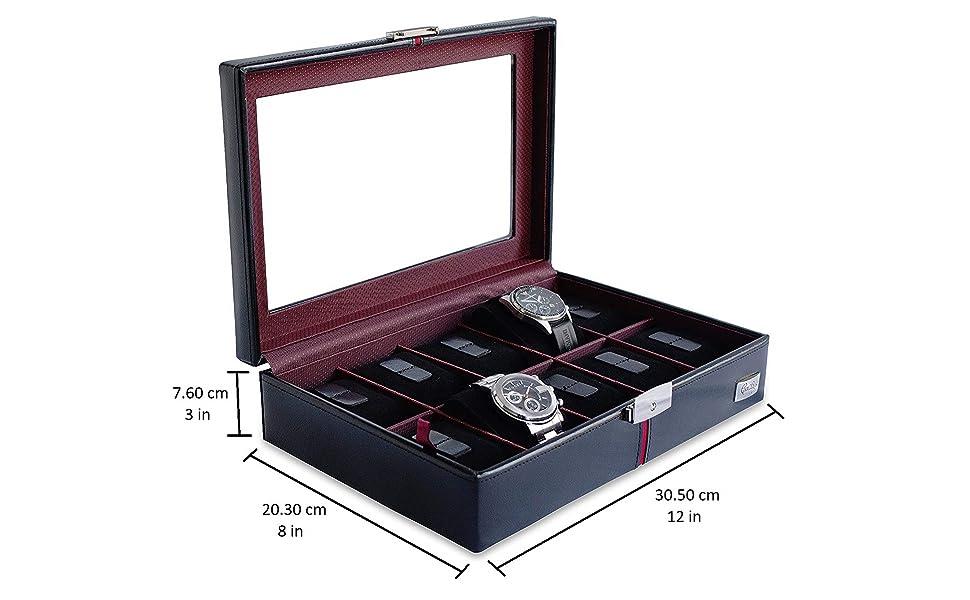 CORDAYS - Estuche Relojero Deluxe en Piel para 10 Relojes con Vitrina de Cristal Caja Organizadora Relojes – Edición Coleccionista - Hecho a Mano - en Color Negro CDM-00003: Amazon.es: Relojes