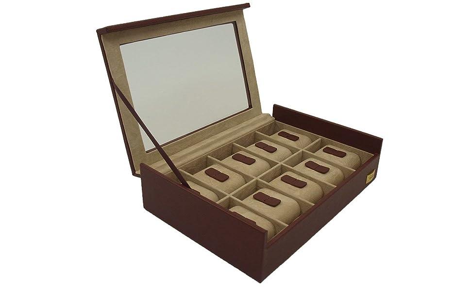 CORDAYS - Estuche Relojero para 10 Relojes con Vitrina de Cristal Hecho a Mano en Color Marsala CDL-10005A: Amazon.es: Relojes