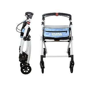 KMINA - Andadores ancianos plegable, Andadores adultos, Andadores ancianos con frenos, Andadores para mayores, PRO Azul