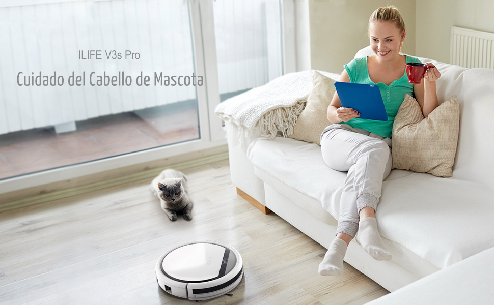 ZACO ILIFE0003-ES ILIFE V3s Pro Aspirador hogar Robot, Auto-Carga, Diseño para la Limpieza de Pelos de Mascota, 20 W, Plastic, Perla Blanco
