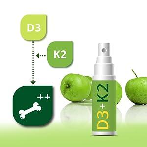 Innovador: nuestro spray de vitamina D3 + K2 es fácil de usar, es absorbido directamente por la mucosa oral y dura aproximadamente 4 meses.