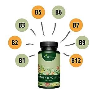 Complejo Vitamina B Vegavero® VEGANO | LA DOSIS MÁS ALTA | Con Colina e Inositol | 180 Comprimidos | B1 + B2 + Niacina + Piridoxina + Biotina + Ácido ...