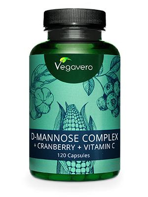 D-Manosa + Arándano Rojo (Cranberry) + Vitamina C Vegavero® | 2000 mg | Infecciones Urinarias + Cistitis | 120 Cápsulas | Sin Aditivos | Vegano