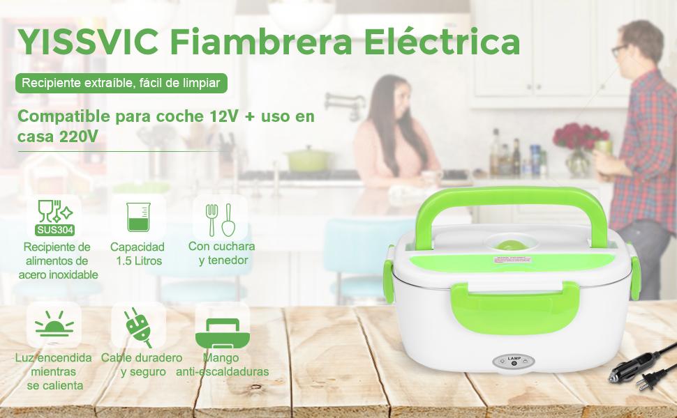 Fiambrera Electrica 2 en 1 para Coche y Trabajo YISSVIC Tartera ...