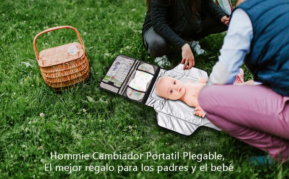 Hommie Cambiador Portatil Plegable para Bebe Impermeable Cambiar de Pañales o Ropa al Bebé, Kit Cambiador Bebe Viaje