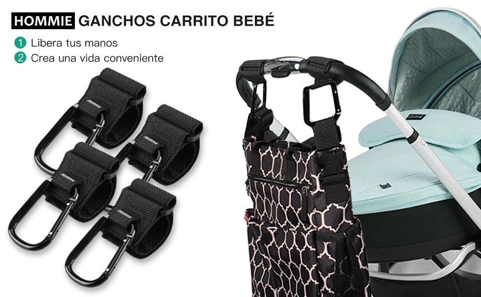 4 Pcs Ganchos Carrito Bebé, Hommie Engancha de Cochecito Multiusos ...