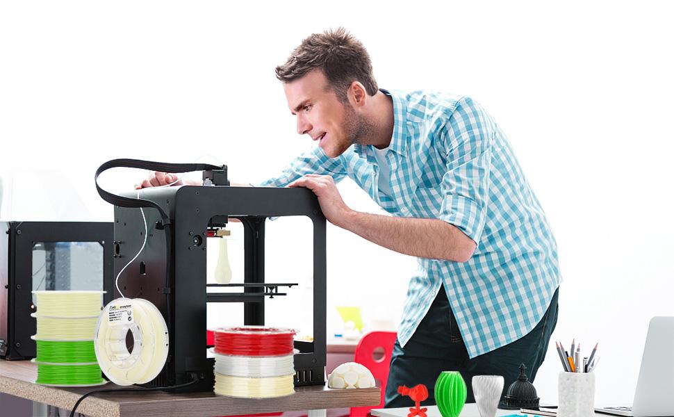 AMOLEN Impresora 3D Filamento PLA 1.75mm, Glow in the Dark Azul ...