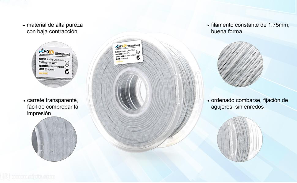 AMOLEN PLA Filamento Impresora 3D 1.75mm Mármol 1KG,+/- 0.03mm ...