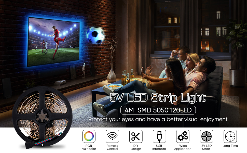 LED Tira de TV, Tiras LED Iluminación 5V 4m 120leds 5050 Tira de ...