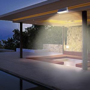 Luces de pared solar de seguridad al aire libre, Licwshi 1100lm 46 LED 4500mAh Aleación de aluminio de plata Sensor de movimiento infrarrojo para jardín, calle, valla, Luz blanca cálida: Amazon.es: Iluminación
