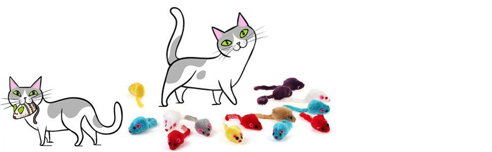 Chiwava 36 Piezas 41 Peludo Ratones Gato Juguete Sonajero Pequeño Ratón Gatito Interactivo Jugar Color Surtido