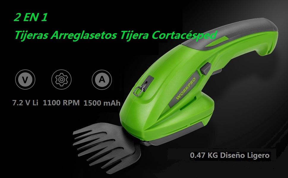 WORKPRO Tijeras Arreglasetos Tijera Cortacésped 7.2V 1.5 Ah Litio 1100 rpm Dos Cuchillas con Llave de Seguridad