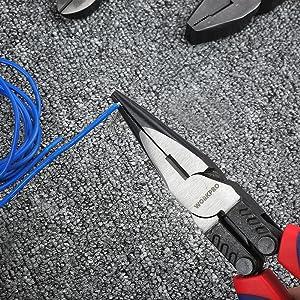 Alicates de punta larga de 200 mm adecuados para acceder a cables y componentes profundamente insertados