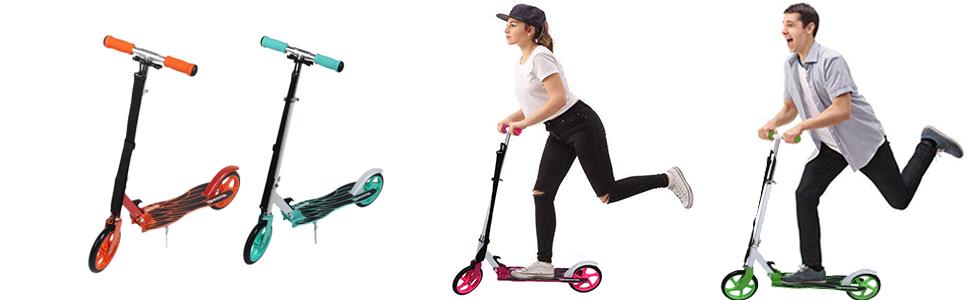 Homgrace Patinete Plegable con 2 Ruedas, Scooter Patinete Altura Ajustable para Adultos y niños