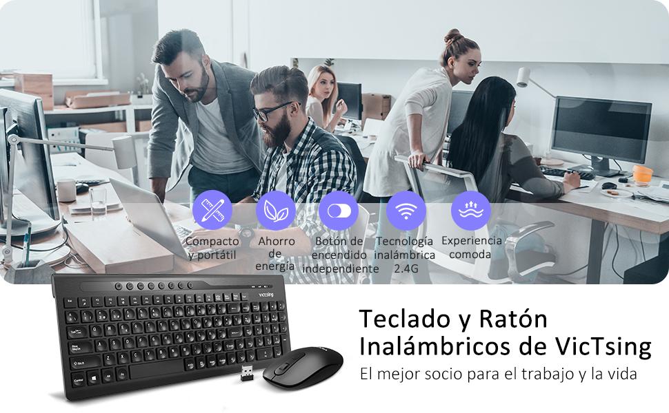 VicTsing Pack Teclado y Ratón Inalámbricos, Teclado Inalámbricos Ultradelgado QWERTY Español 2.4G, Diseño de Ahorro de Energía para Windows ...