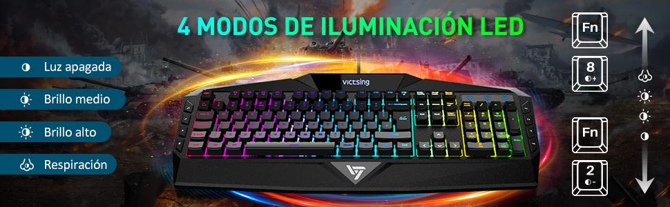 VicTsing Teclado Gaming RGB Alambrico Teclado USB (Black)
