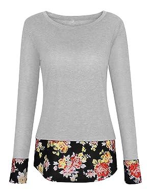 La camisa redonda de dobladillo floral es informal, cómoda y moderna.