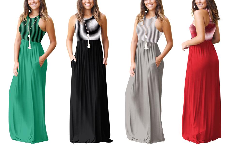 Vestidos Largos, Vestidos Mujer Verano 2018 Mujer Rayado Largo Boho Verano Vestido Maxi Fiesta
