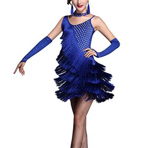 SPDYCESS Mujeres Ropa de Baile Latino Vestidos de Danza - Flecos ...