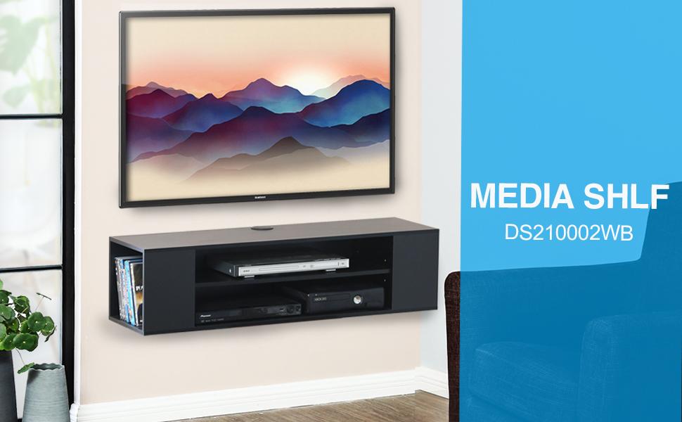 FITUEYES Madera Grano Mesa Flotante para TV Mueble para TV en la ...