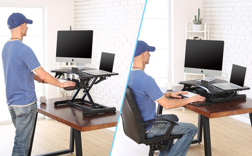 FITUEYES Convertidor de Escritorio de Pie Altura Ajustable Escritorio Convertible Estación de Trabajo para Usar de Pie o Sentado con la Bandeja de ...
