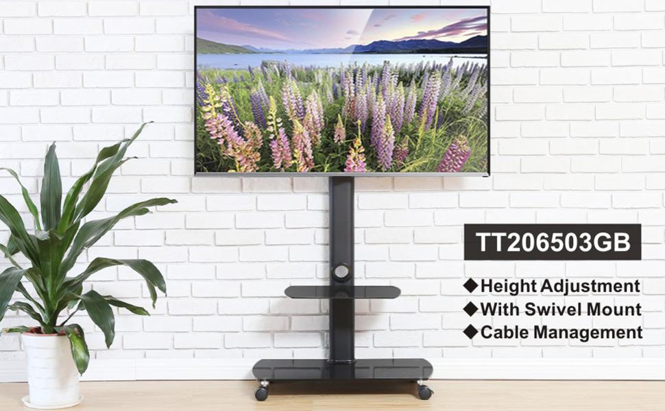 FITUEYES Giratorio Soporte de Suelo con 2 Estantes para TV LCD LED OLED Plasma Plano Curvo 32-65 Pulgadas TT207501MB