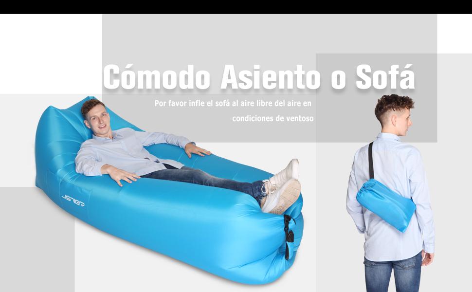 JSVER Sofá Inflable del Aire del Ocioso de con el Paquete Portable ...