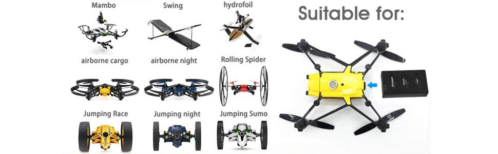 Shoot 3 unids 3.7v 660mAh LiPo Batería para Parrot Mini Drone ...