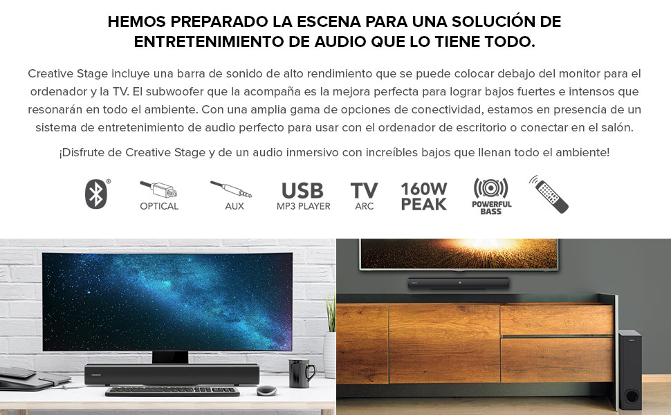 CREATIVE Stage 2.1 - Barra de Sonido con subwoofer para TV, Ordenador y Pantallas de Ultrawidee, Bluetooth/Entrada óptica/TV ARC/AUX, Mando a Distancia y Kit de Montaje en Pared: Amazon.es: Electrónica