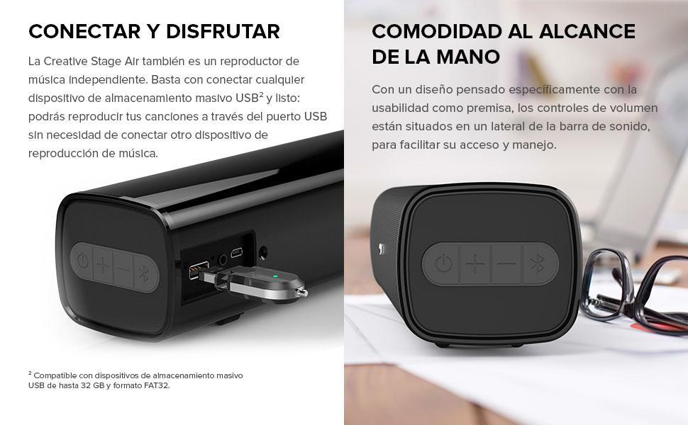 Barra de sonido de ordenador Creative Stage Air para colocar bajo el monitor: portátil y compacta, con alimentación USB, radiador pasivo, Bluetooth