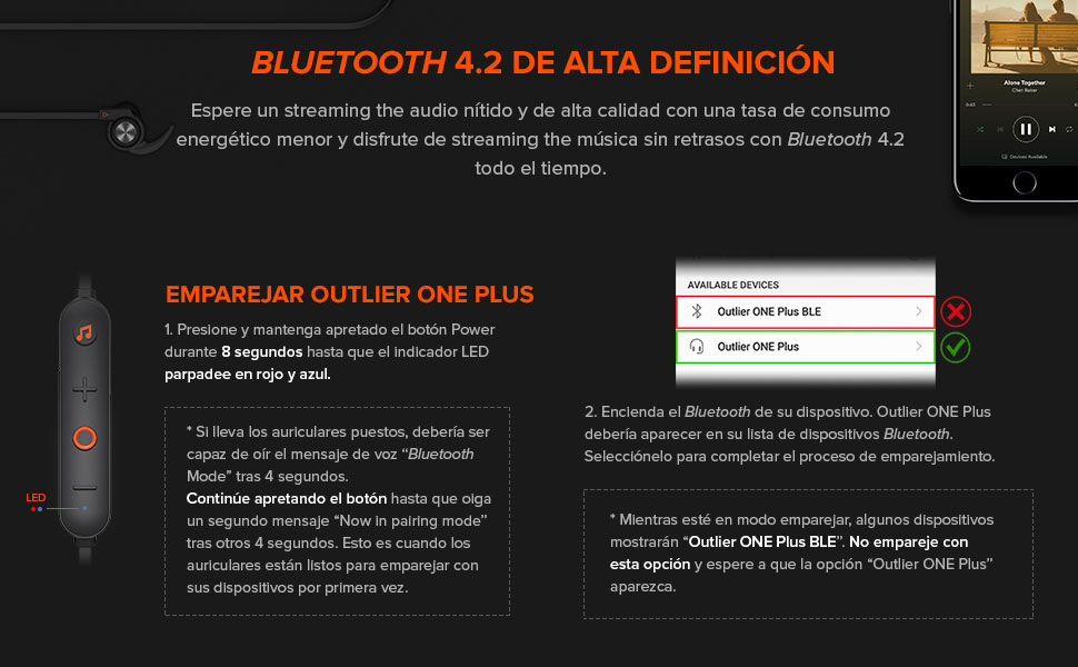 BLUETOOTH 4.2 DE ALTA DEFINICIÓN