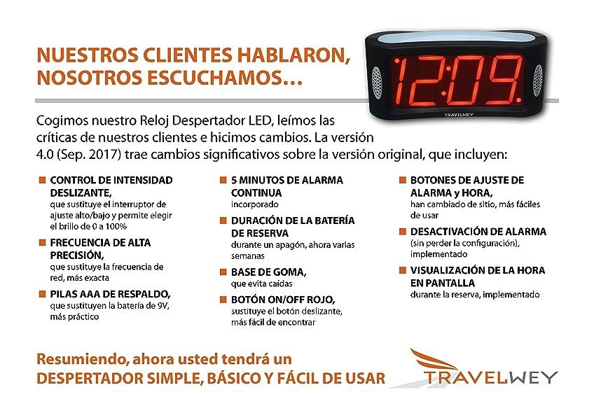 Travelwey Despertador Digital LED - Simple, con Cable, luz, regulador, Grandes dígitos, Reloj despertadores Digitales- Formato de 12 Horas
