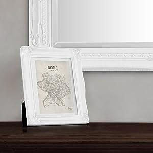 Marco de Foto A4 con Paspart/ú para Foto 20x15 cm Frente de Vidrio Marco Barroco Negro Antiguo Estilo Rococo Shabby Chic Ancho del Marco 2,5 cm