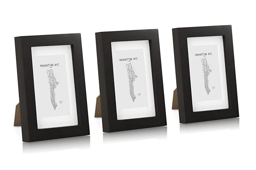 Marcos de Fotos 10 x 15 cm - Paquete de 3 marcos - Con Paspartú para fotos 6,5 x 10,5 cm incluido - Negro