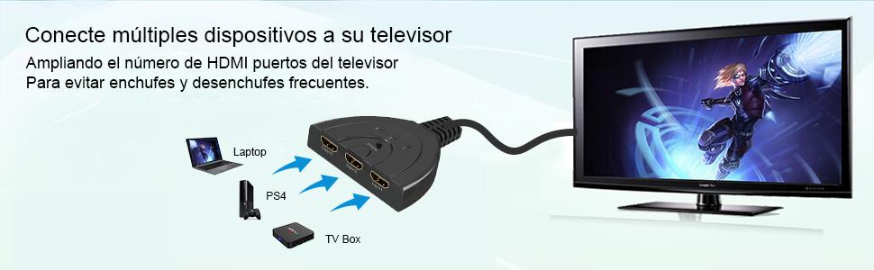 HDMI Switch, GANA 3 Puertos HDMI Switcher | HDMI Splitter Soportes Full HD 1080p 3D HDMI Conmutador Adaptador para HDTV/Xbox/PS3/PS4/Apple TV/Fire Stick/BLU-Ray DVD-Player(3 IN 1 out): Amazon.es: Electrónica