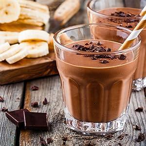 Chocolate Caliente. Batido de plátano y cacao