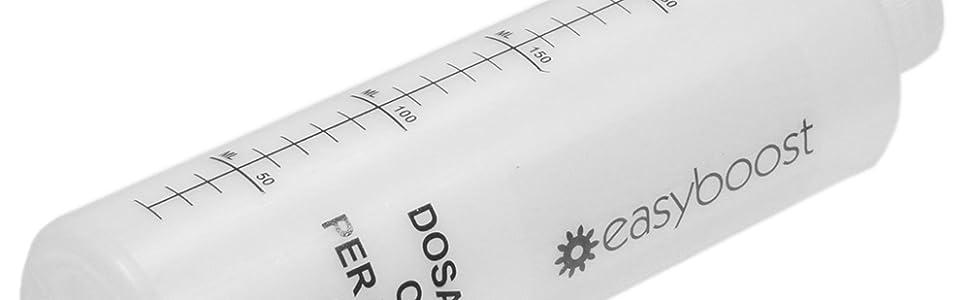 Easyboost Dosificador de Aceite para Mezcla Gasolina Motores 2 Tiempos 2% 2,5% 3% 4% 5% 6% Con Tapa 250 ml Scooter Moto Cortacésped Desbrozadora ...