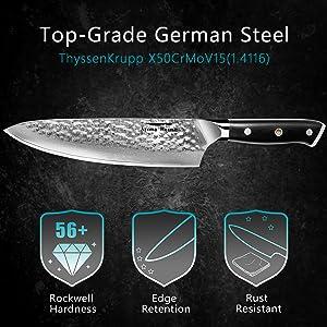 Cuchillo de cocina de damasco, Damasco cuchillo de chef 20cm, Cuchillo santoku japones, Diseño de alveolado,mango de ergonómico de G10 material ...