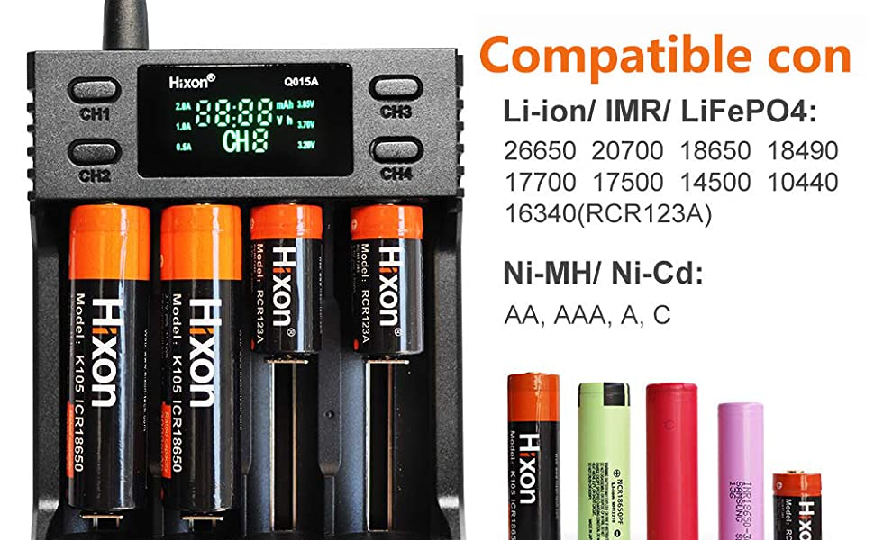 Cargador de Batería Universal, Hixon 4 Ranuras Cargador de Pilas Inteligente para Baterías Recargables Li-Ion, Ni-MH, Ni-CD, AA, AAA, SC, C