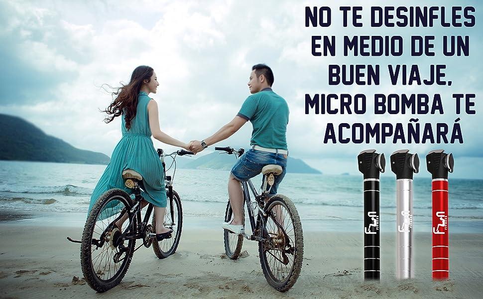 Mini Bomba DE Bici (Negro) con Kit Reparador De Neumáticos Y ...