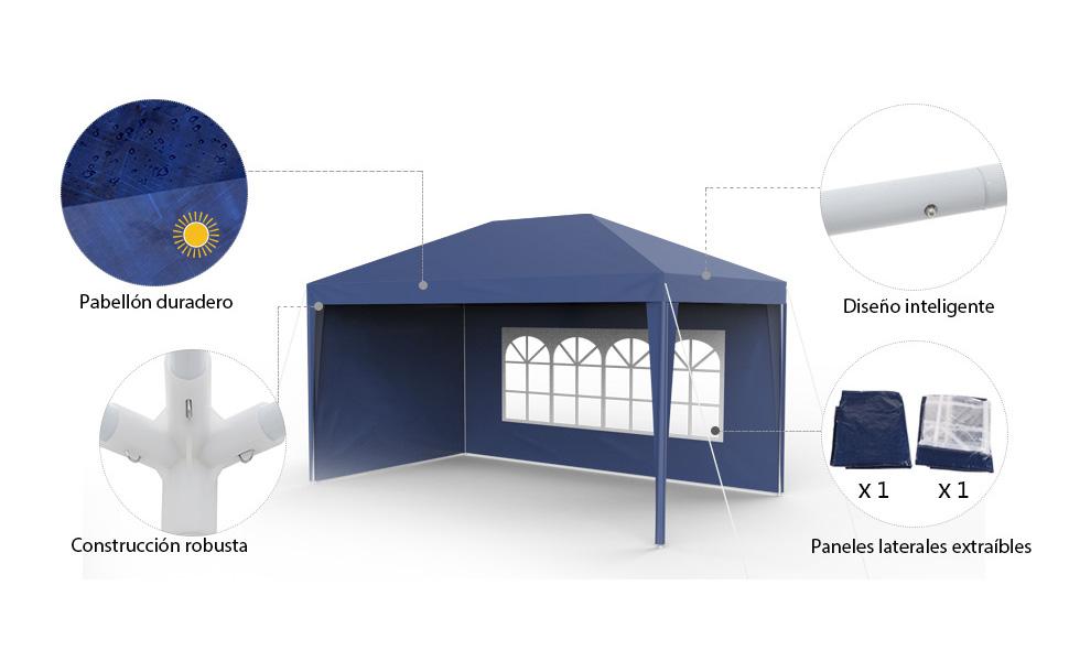 Sekey 3x4m Cenador para Jardin, Impermeable Carpa de Jardín con Paredes Laterales, UV30 + Pabellón de Jardín para Parrillas/Fiestas/Fiesta/Barbacoas/Boda, Azul: Amazon.es: Jardín
