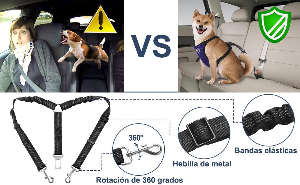 rotaci/ón de 360/° Petyoung no enreda Correa para Perro con Correa el/ástica Reflectante para Dos Perros Ajustable y Doble Cintur/ón de Asiento de Coche para Perro