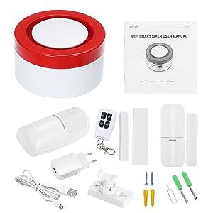 OWSOO 433MHz Sistema de Alarma Inteligente WiFi Gateway Host & Sirena 2 en 1 Control Remoto de Phone App Compatible con Amazon Alexa Voice Control ...
