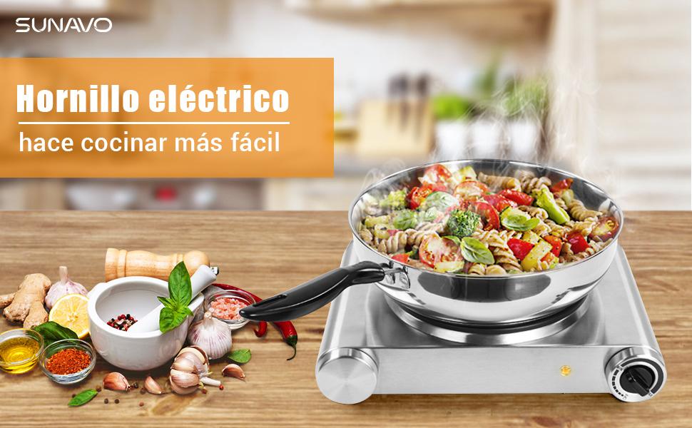 SUNAVO Hornillo Electrico Portatil, Placa eléctrica, Soltero fogones 1500W, Cocina eléctrica, Cocinas
