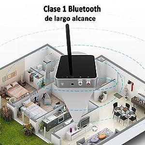 Golvery Bluetooth 5.0 Transmisor Receptor, Adaptador Bluetooth 328 pies de Largo Alcance para la TV Sistema estéreo de Alta fidelidad casero, Óptica y ...