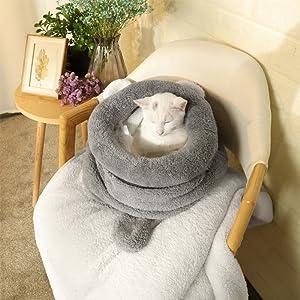 Cama de gato lavable suave y cálido